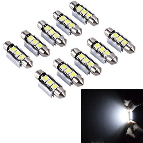 PolarLander 10pcs 2SMD Canbus 36m m 5050 LED C5W llevó Las Luces de la bóveda Luces de la matrícula Que procuran la lámpara de la lámpara de Las ...