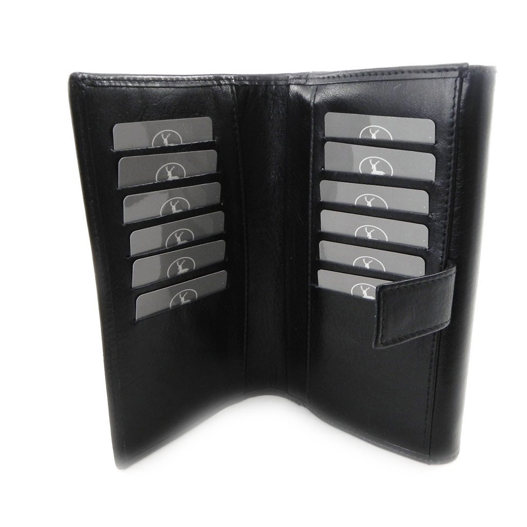 Wallet + checkbook holder leather 'Frandi' ecological york black.
