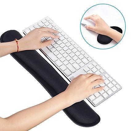 Almohadilla de apoyo para teclado y ratón con espuma de memoria para ordenador portátil, fácil