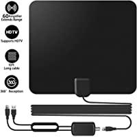 TV Antenna, 60 Miles Range Freeview Indoor Digital HDTV Aerial with Amplifier Signal Booster and 13.1Ft Coax Cable, Support 1080P Vhf UHF, Black