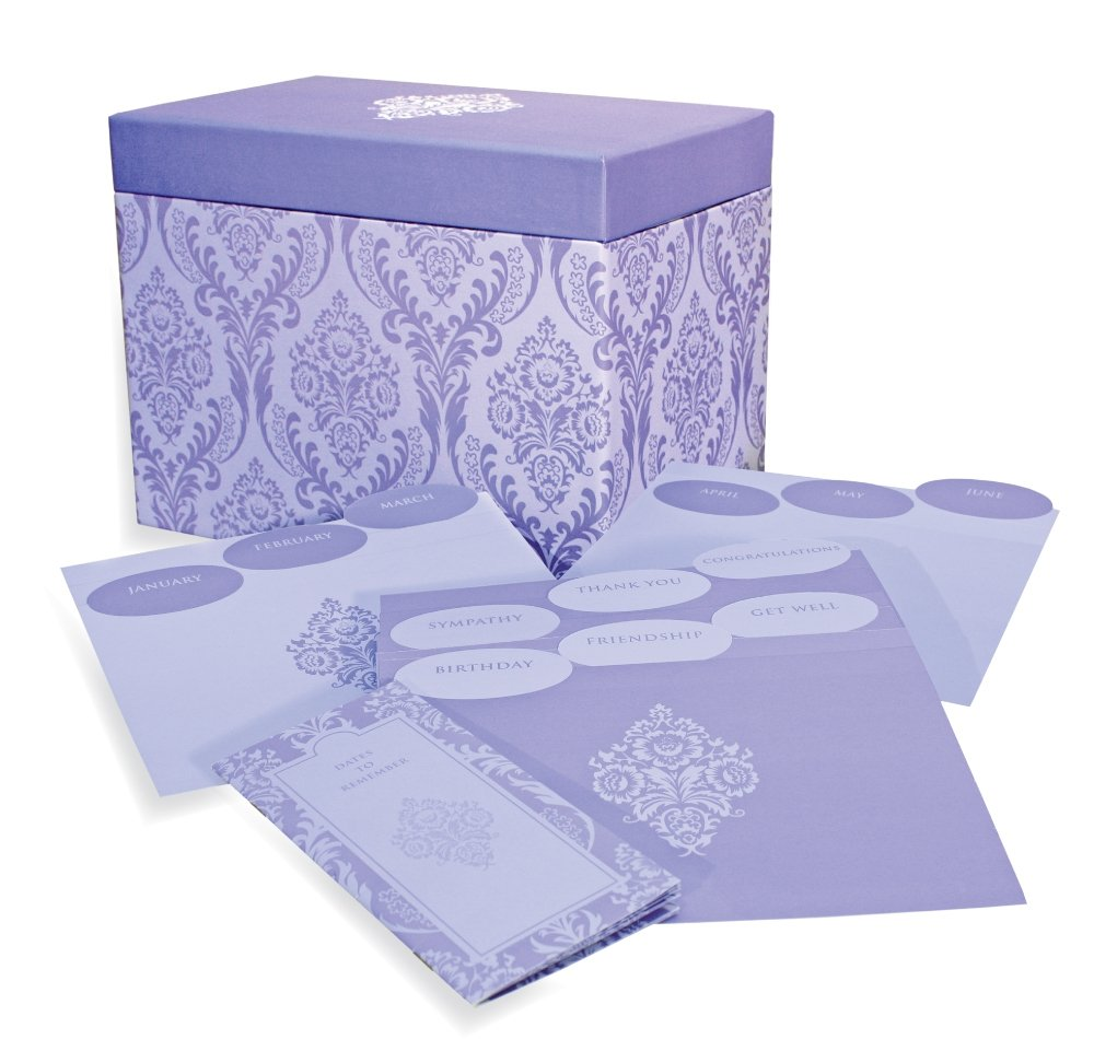 Designer Greetings 711-00005-0000   - Deluxe Card Organizer Kit In Decorative Designer Damask Patterned Box Containing Dividers for Month And Type Of Greeting Card And Booklet For Tracking Days To Remember by Designer greetings (Image #1)