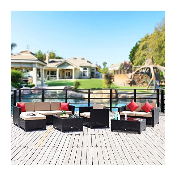 Cloud Mountain 8 Piece Patio Sectional Rattan Furniture Set PE Rattan Wicker Furniture Sofa Set with Loveseat Table, Black Rattan with Khaki Cushions - ⭐INCLUDING: 1 loveseat, 1 ottoman, 1 single chair, 2 glass table, 3 sectional chairs, 4 pillows, 5 back cushions, 6 seat cushions. Ship from US in 4 BOXES ⭐EASY USE: Easy assembly required and all hardware included. Removable cushions with zipper for easy cleaning, easy to wash. Cushions are not weather-resistant, please put them away when it is rainy. ⭐HQ MATERIAL: Built from rust-resistant strong steel frame with durable and weather-resistant 9mm-thickness PE rattan wicker for years of use. 200g Moymacrae cover and 24D Sponge interior make you feel more comfortable - patio-furniture, patio, conversation-sets - 616552FSiUL. SS570  -