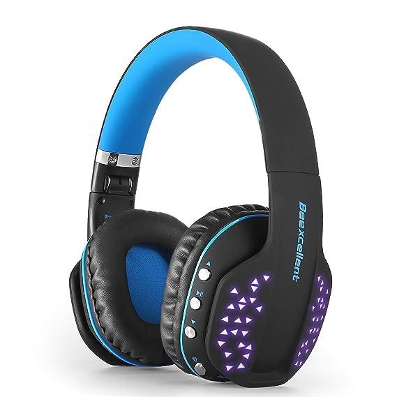 Over-Ear Auriculares, beexcellent Q2 inalámbrico Bluetooth auriculares, plegable, micrófono integrado, Cool LED y modo con cable para iPads, smartphones, ...
