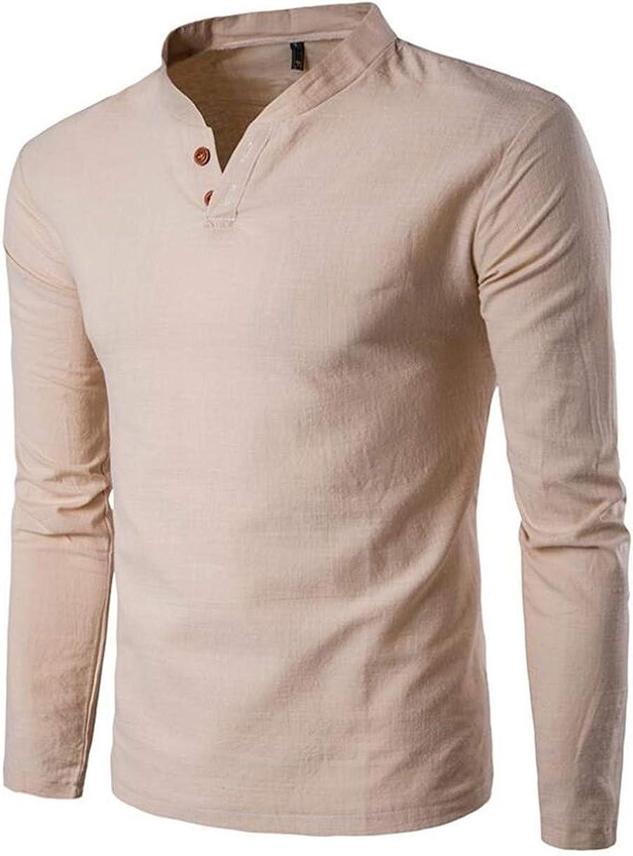 XiaoTianXinMen XTX Mens Stand Collar Buttons Soild Plus Size Long Sleeve Shirts