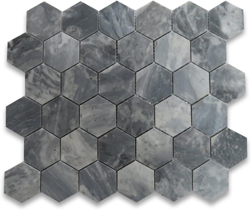Stone Center Online Bardiglio Gray Marble 2 Inch Hexagon Mosaic Tile Polished For Kitchen Backsplash Bathroom Flooring Shower Surround Dining Room Entryway Corrido Spa 1 Sheet