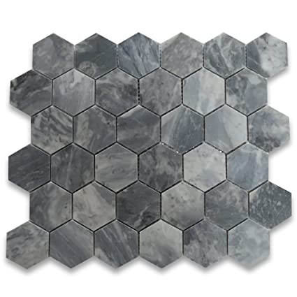 Image Unavailable Not Available For Color Bardiglio Gray Dark Grey Marble Hexagon Mosaic Tile