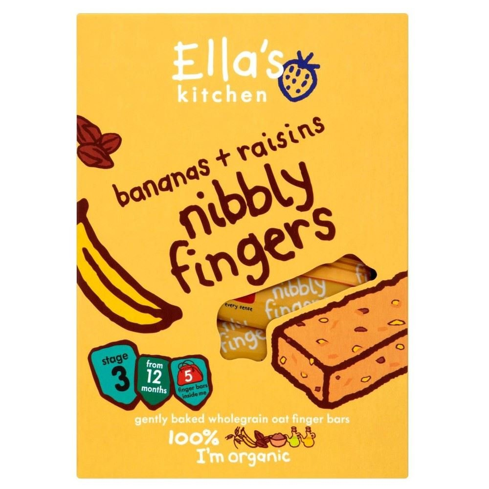 Ella's Kitchen Organic Banana and Raisin Nibbly Fingers 12mth+ (5x25g) - Pack of 2 Grocery