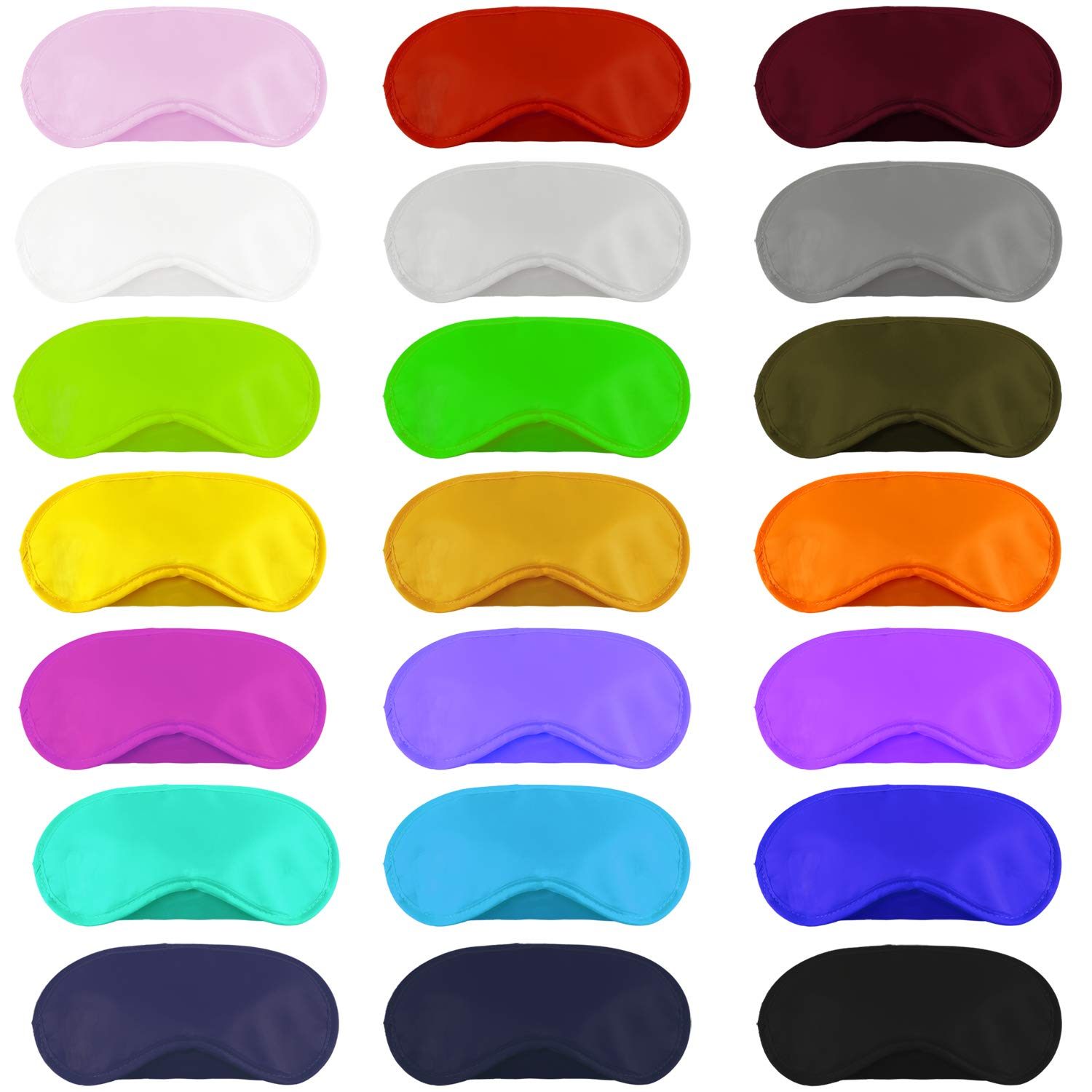 Aneco 50 Pieces Blindfold Eye Mask Shade Cover with Nose Pad and Adjustable Strap for Travel Sleep or Party Supplies, 21 Colors by Aneco