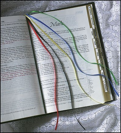 Catholic Christian Hymnal Ribbon Bookmark Yellow Blue Red Black ()