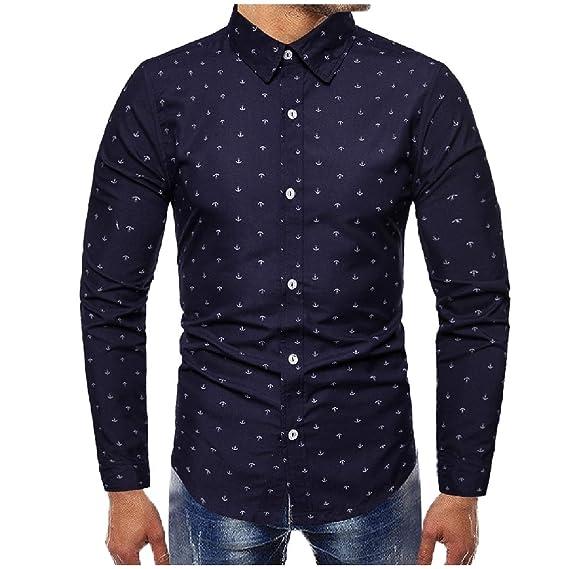 239743aa3b2 FIND-Y Men s Floral Print Premium Plus Size Business Tshirt Top Shirt Navy  Blue S