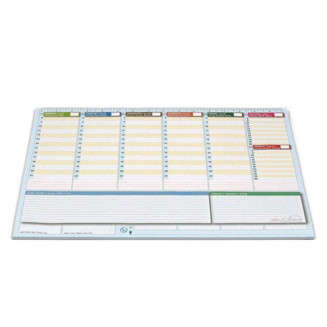 Planificador semanal de escritorio 42 x 30 – Agenda Agenda de mesa perpetua – World Planner