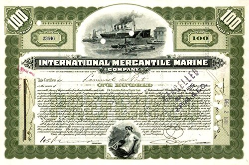 1917 SCARCE ORIGINAL TITANIC STOCK CERTIFICATE ENGRAVED IN 1902! HAND SIGNED Various Share Amounts EXTREMELY FINE ()