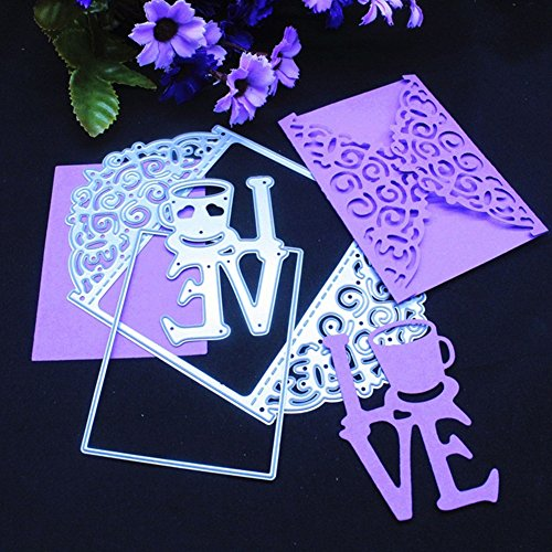 Bluelans 3pcs Love Metal Cutting Dies Stencil Template for DIY Scrapbook Album Paper Card Craft Decoration (Love)