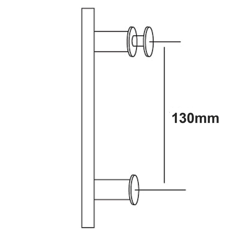 Di Vapor Poign/ée de porte de douche en acier inoxydable 13 cm