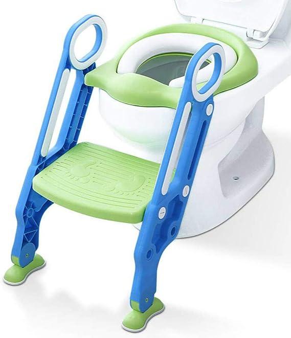 Mangohood - Asiento de inodoro para entrenamiento con escalón y escalera, para niños y niñas, asiento de entrenamiento con asas, asiento acolchado y antideslizante (azul verde): Amazon.es: Bebé