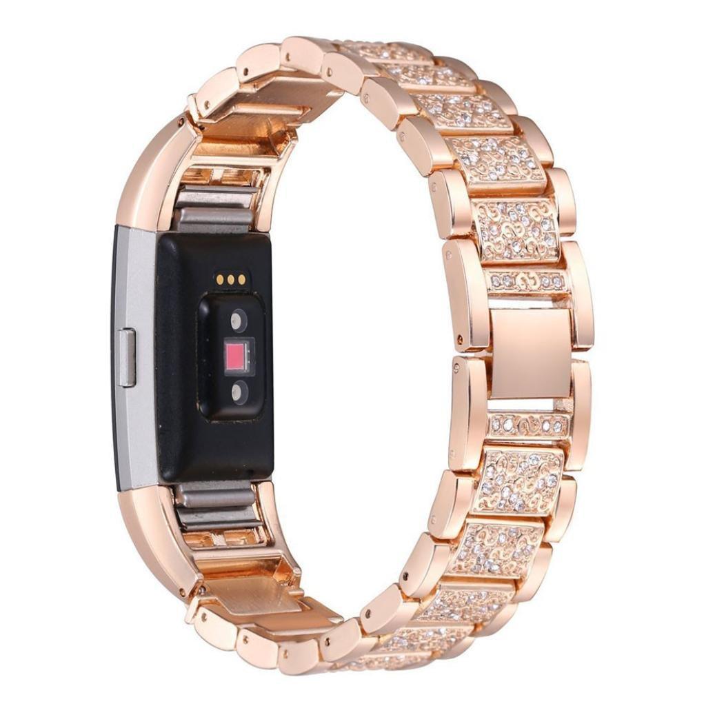 Creazyクリスタルステンレススチール時計バンド手首ストラップfor Fitbit Charge 2 B06Y1N7G5P ローズゴールド