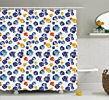 Flower Decor Shower Curtain by Ambesonne, Nature Botanic Colored Violet Floral Tiny Flowers Art Print, Fabric Bathroom Decor Set with Hooks, 75 Inches Long, Dark Blue and Yellow Orange