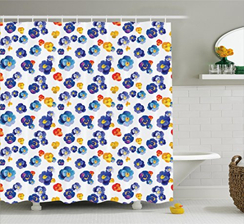 Flower Decor Shower Curtain by Ambesonne, Nature Botanic Colored Violet Floral Tiny Flowers Art Print, Fabric Bathroom Decor Set with Hooks, 75 Inches Long, Dark Blue and Yellow Orange (Blue Yellow Fabric)