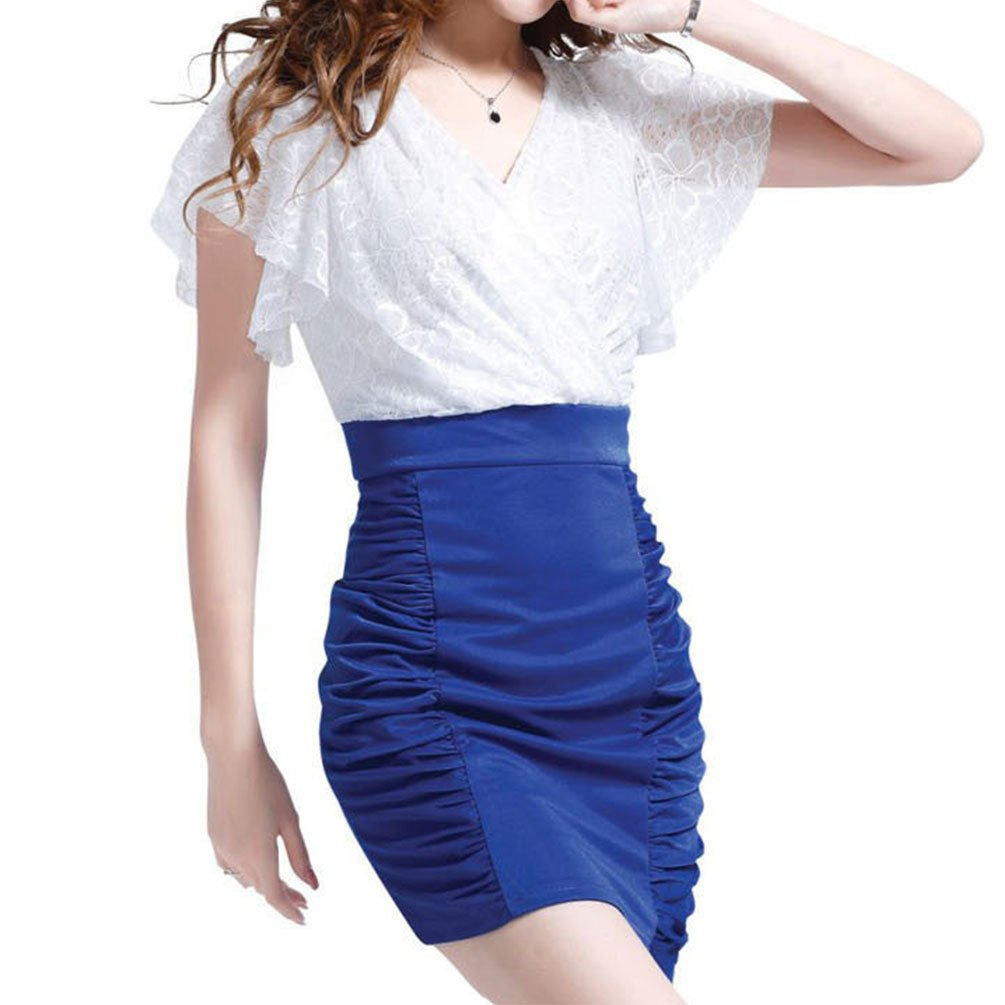 Women's Floral Lace Dress Party Office Daily White V Neck Ruffle Short Sleeves High Waist Leg Beauty (6, White Blue) Comfortable fine Texture Romantic Short Bell Ruffle Slim White Petite Tight