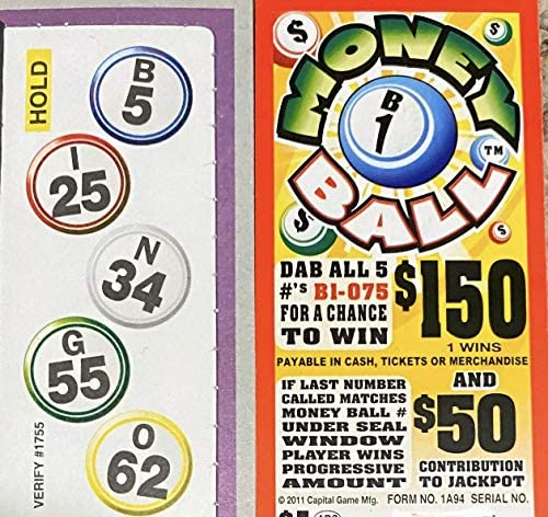 All Tickets Playable Money Ball $150 Bingo Pull Tab Event Game