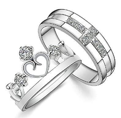 Amazon Gold Plated Cubic Zirconia Water Prints Couple Ring