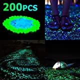 Sunnest 200Pack Glow in the Dark Garden Pebbles for Walkways Outdoor Decor Aquarium Fish Tank Path Lawn Yard, Glow Stone Rocks Outdoor Garden Decorative Stones in Blue & Green