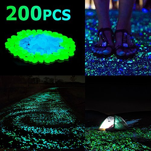 Sunnest 200Pack Glow in the Dark Garden Pebbles for Walkways Outdoor Decor Aquarium Fish Tank Path Lawn Yard, Glow Stone Rocks Outdoor Garden Decorative Stones in Blue & Green (Light Solar Stone Stepping)