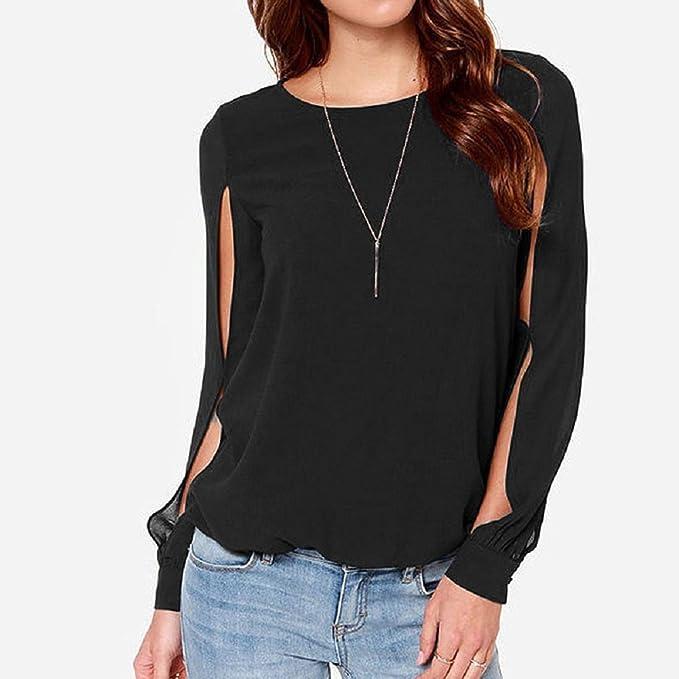 SYGoodBUY Blusas para Mujer Chifón Camisas Informales Cropped Manga Larga Tops de Verano Tops Camiseta: Amazon.es: Ropa y accesorios