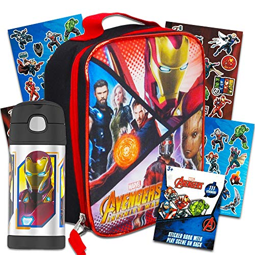 Marvel Avengers Thermos Lunch Box and Funtainer Set for Kids - Bundle Includes Insulated Lunch Box and 12 Hour Cold Drink Stainless Steel Funtainer Water Bottle