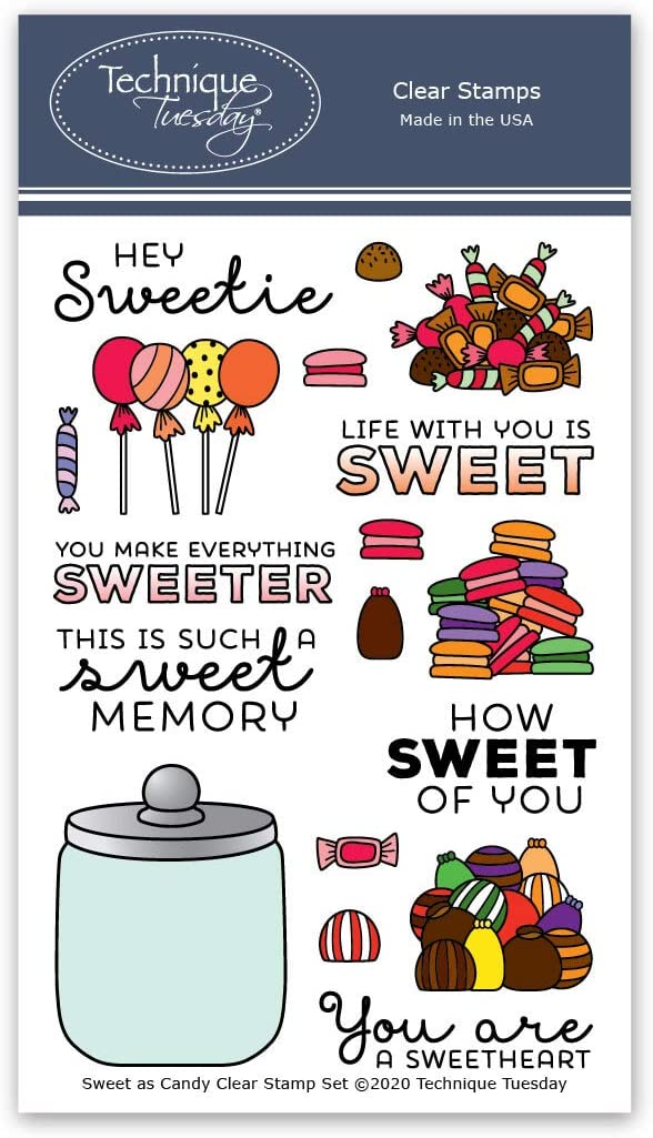 Sweet as Candy Stamp Set - Candy Jar Photopolymer Stamps | Macaron Clear Rubber Stamps | Card Making Supplies | Scrapbooking Supplies