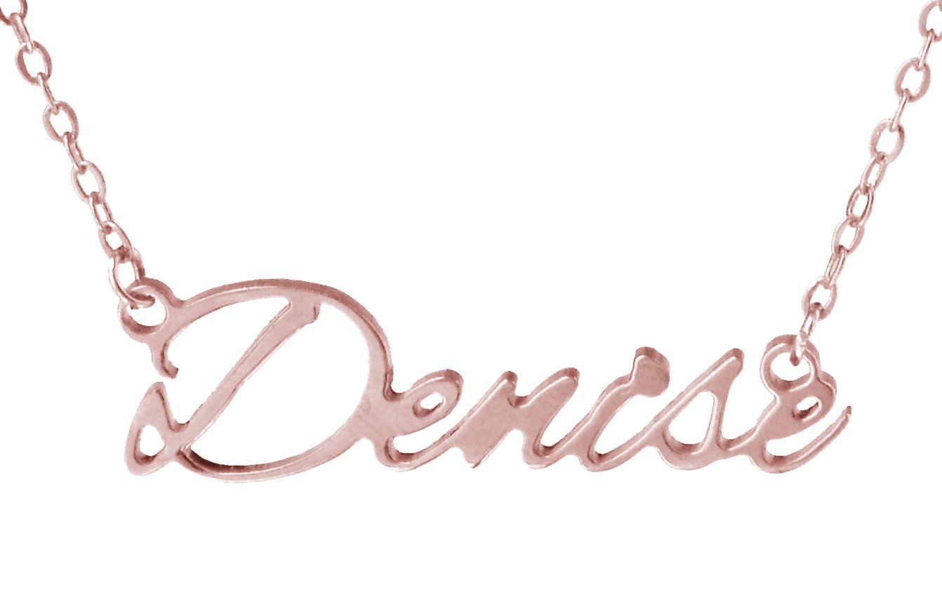 UNIQUE CHARM Personalized Custom Any Name Choker Necklace, Handwriting Customized Name Necklace Gold plated, Made in USA