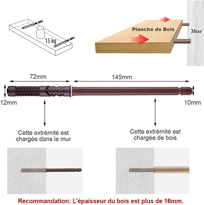 Lot de 10pcs Supports de Fixation Consoles Invisibles pour /Étag/ères Flottante Tablette Suspendue Armoire Murale 14x140mm