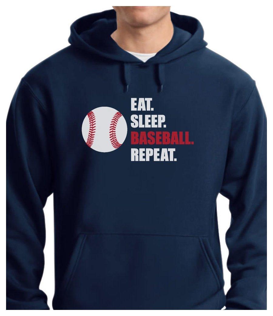 TeeStars - Eat Sleep Baseball Repeat Best Gift for Baseball Fans Hoodie XX-Large Blue
