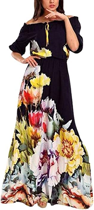 2d910f085e43 Womens Off The Shoulder Floral Print Long Maxi Dress Party Club Cocktail  Navy Blue Puff Sleeve Maxi Dress
