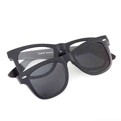 60545cc6d256a Cyxus filtro de luz azul gafas (lente transparente) con clip on polarizado  gafas de