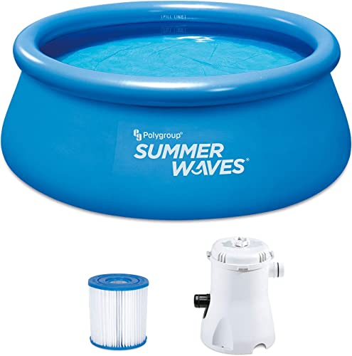 Summer Waves P1000830A156 Quick Set 8ft x 30in Inflatable Ring Round Above Ground Swimming Pool Set