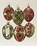 "6 Piece Burgundy & Emerald Egg Glass Ornaments| 2.4"" High 