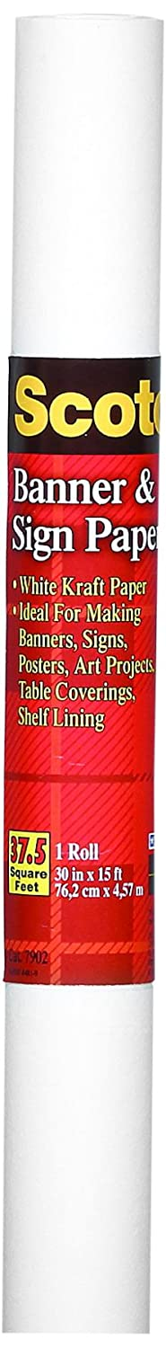 Scotch Banner Paper, 30-Inch x 15-Feet, White (7902)