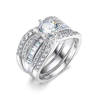 Amazon.com: Pophylis - Juego de anillos de boda para mujer ...