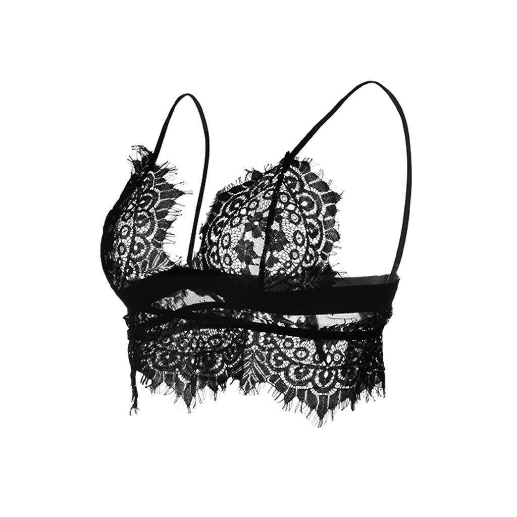 Simayixx Blouses for Women Womens Lingerie Sexy Bra Lace Babydoll Outfits Plus Size Eyelash Crop Top Sleepwear Underwear Black by Simayixx (Image #5)