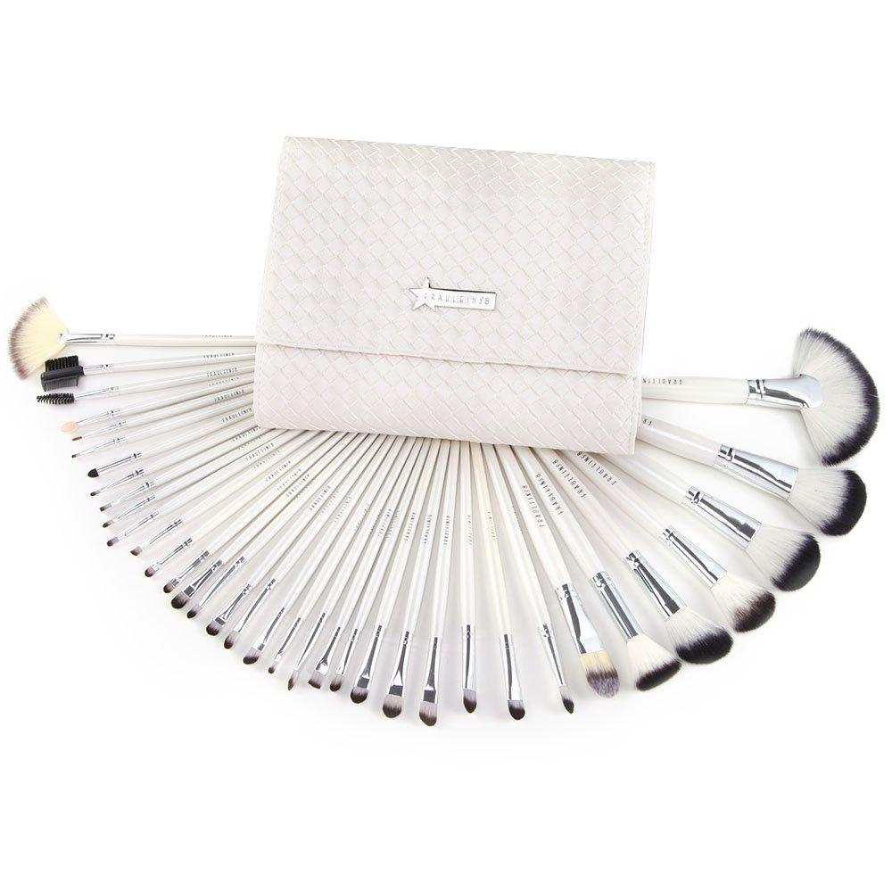 SurePromise 36PCS White Swan Full Makeup Brushes Set with Case Face Foundation Eye Cosmetics Wooden Handle Brush