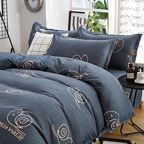 "KFZ Children Bedding Duvet Cover Smile Cloud Stripe Sakura Design Flat Bed Sheet Pillowcases No Comforter HDD Twin Full Queen King 4pcs/set Size (Cute Snail,Grey, Queen, 79""x91"")"