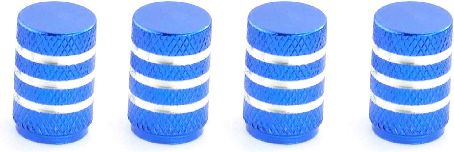 Blue Abfer Auto Tyle Valve Dust Cap Car Tire Valve Air Cover Pressure Caps with Stripes Fit SUV Vehicle Truck Motorcycles Bikes