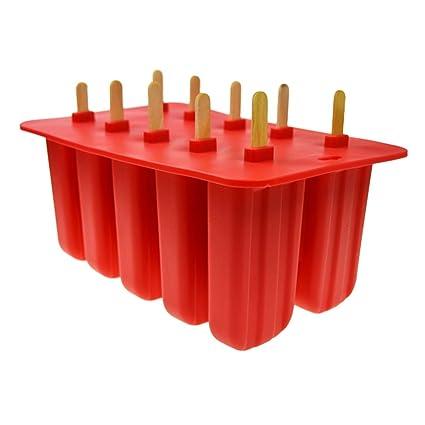 Bandejas de cubitos de hielo de silicona de 10 orificios, moldes flexibles de cubitos de