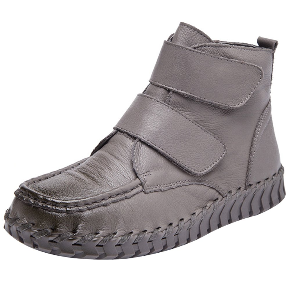 Mordenmiss Women's New Fall Winter Martin Flat Plain Toe Boots B01L3DSRU2 US?6//CH?37|Style 1 Gray