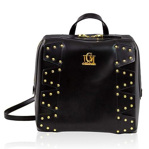 500738525c5 LCM by Valentino Orlandi Italian Designer Black Leather Backpack Bag w Studs