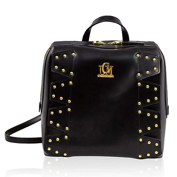 Valentino Orlandi LCM by Bolso mochila de cuero negro de diseño italiano con tachuelas: Amazon.es: Zapatos y complementos