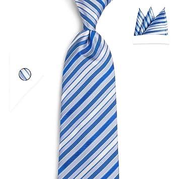 KYDCB Corbata de los Hombres Corbata 8 cm Azul Blanco a Rayas ...