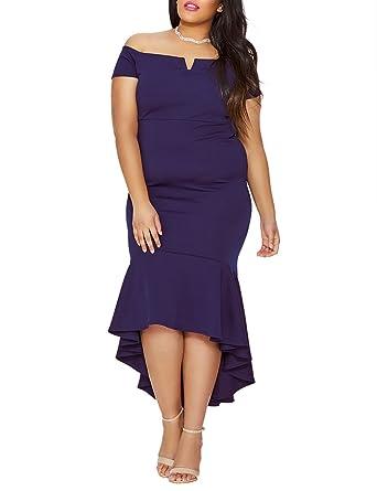 c77961c59f1 VINKKE Women s Plus Size Off Shoulder High Low Bodycon Mermaid Evening Party  Midi Dress Purple XL