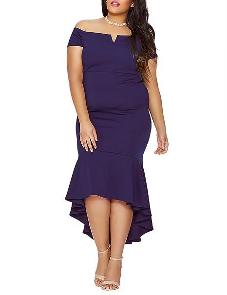 VINKKE Women\'s Plus Size Off Shoulder High Low Bodycon Mermaid Evening  Party Midi Dress